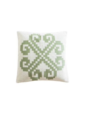 Polina handwoven throw pillow cover, gray/green and white
